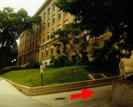 photo of the old part of Sterling Hall as seen from Charter Street